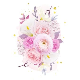 핑크 장미 백합과 꽃 꽃의 수채화 꽃다발