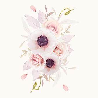 Акварельный букет из розовых роз и цветка анемонов