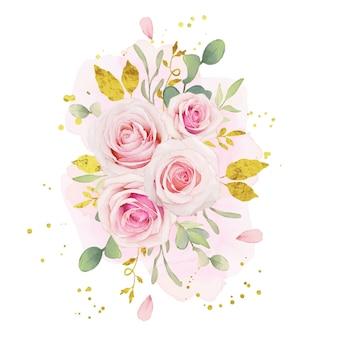 핑크 장미와 금 장식의 수채화 꽃다발