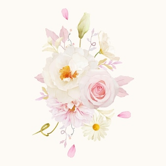 ピンクのバラのダリアと白い牡丹の水彩花束