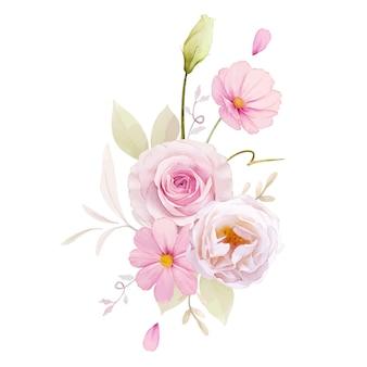 핑크 장미 수채화 꽃다발
