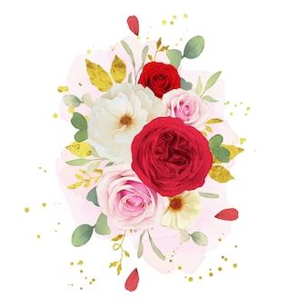 분홍색 백색과 빨강 장미의 수채화 꽃다발