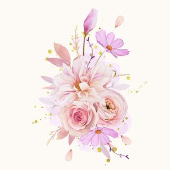 バラのダリアとラナンキュラスの花の水彩花束