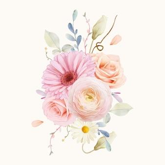 장미와 거베라의 수채화 꽃다발