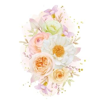 Акварельный букет из роз пион и цветок лютик