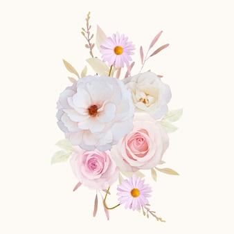 バラの水彩花束