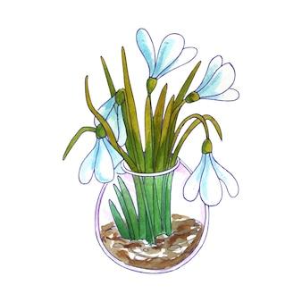 春の花の水彩画の花束。スノードロップと葉。白い背景で隔離されました。手描きイラスト。