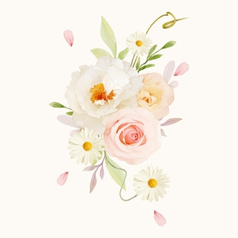 Watercolor bouquet of pink roses and white peony