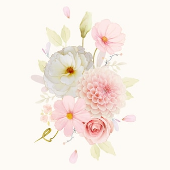 Watercolor bouquet of roses and pink dahlia