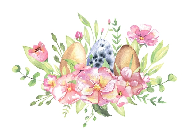 Watercolor bouquet with flowers easter eggs