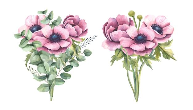 ピンクの花と水彩の花束。