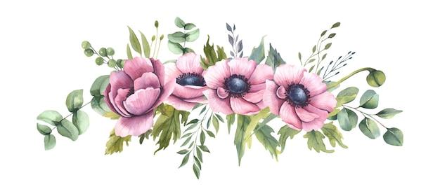 Акварельный букет с розовыми цветами.