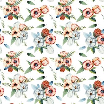 흰색과 산호 말미잘 꽃 원활한 패턴의 수채화 꽃다발