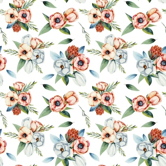Watercolor bouquets of white and coral anemone flowers seamless pattern