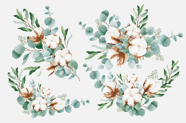 Watercolor bouquets with cotton and branches of eucalyptus