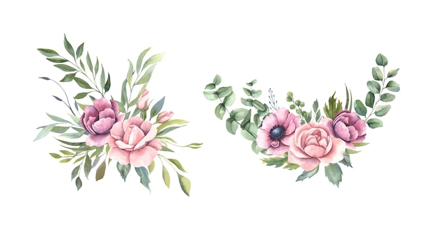 Watercolor bouquets with pink flowers, anemones. Premium Vector