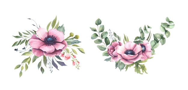 Watercolor bouquets with pink flowers, anemones.
