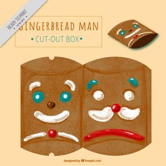 Watercolor box of gingerbread cookies