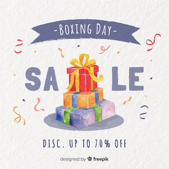 Watercolor boxing day sale background