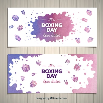 Watercolor boxing day sale banner