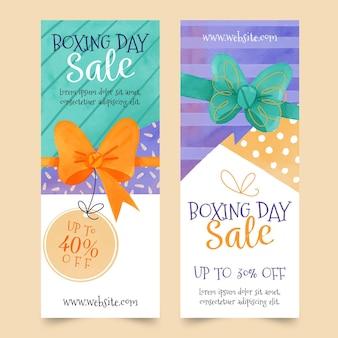 Modello di banner di vendita dell'acquerello boxe day