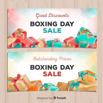 Watercolor boxing day sale banners