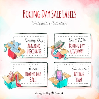 Watercolor boxing day sale labels collection