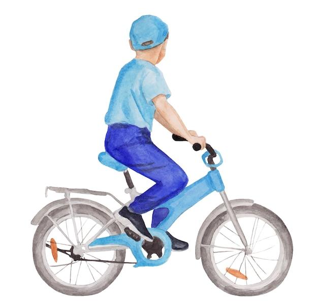 自転車の帽子の水彩画の少年