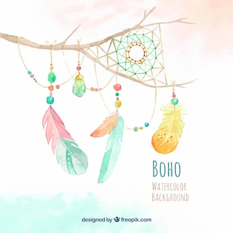 Watercolor branch background with dream catcher and feather