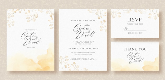 Watercolor branch on wedding invitation template