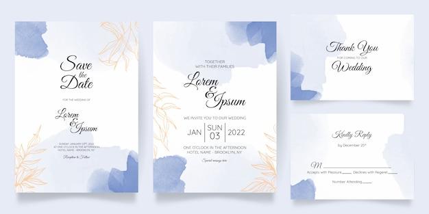 Watercolor branch wedding invitation template