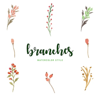 Watercolor branches set free vector