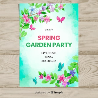 Watercolor branches spring party poster