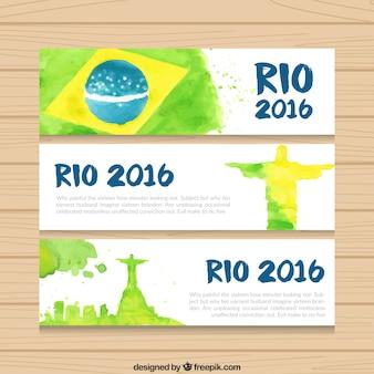 Watercolor brazil 2016 banners