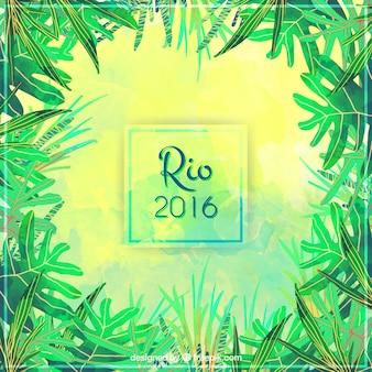 Акварели бразилия 2016 пальмовыми листьями фон