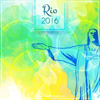 Watercolor brazil background with hand drawn christ of redemmer