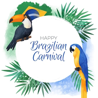 Watercolor brazilian carnival background with birds