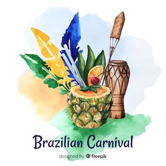 Акварель бразильский карнавал фон