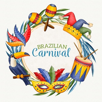 Watercolor brazilian carnival concept