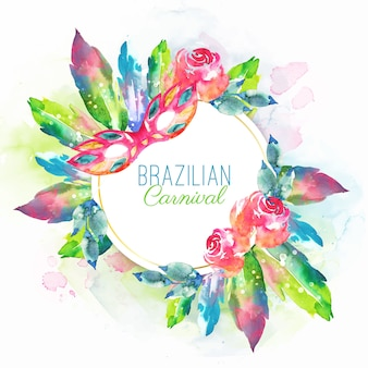 Watercolor brazilian carnival feathers and mask