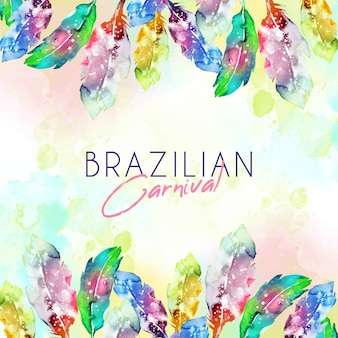 Watercolor brazilian carnival feathers with copy space