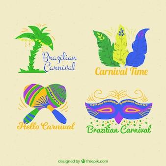 Watercolor brazilian carnival label/badge collection