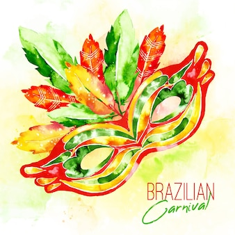 Акварельная бразильская карнавальная маска