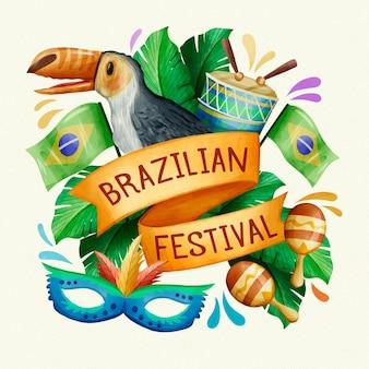 Акварельный бразильский карнавальный попугай