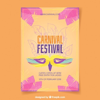 Акварельный бразильский карнавальный флаер / плакат