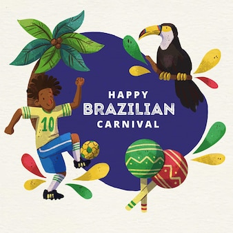 Watercolor brazilian carnival with bird