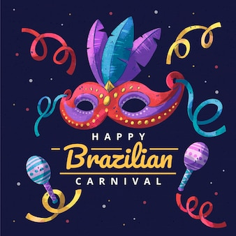 Watercolor brazilian carnival with mask