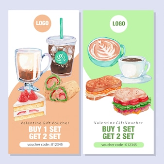 Watercolor breakfast cafe promo banner template