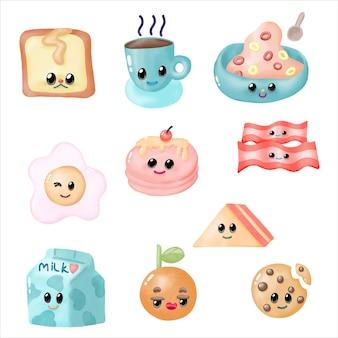 Watercolor breakfast cartoon clipart. cute breakfast