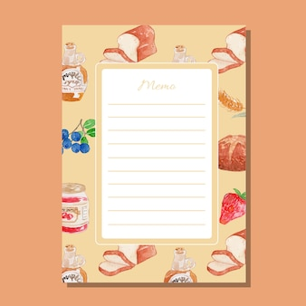 Watercolor breakfast theme lined memo printable template